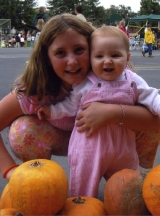 Granddaughters in Pumpkin Patch